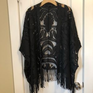 Dynamite Black Shawl with Lace and Fringe Details